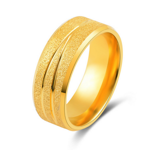 Stainless Steel Solid Yellow Gold Plated Ring
