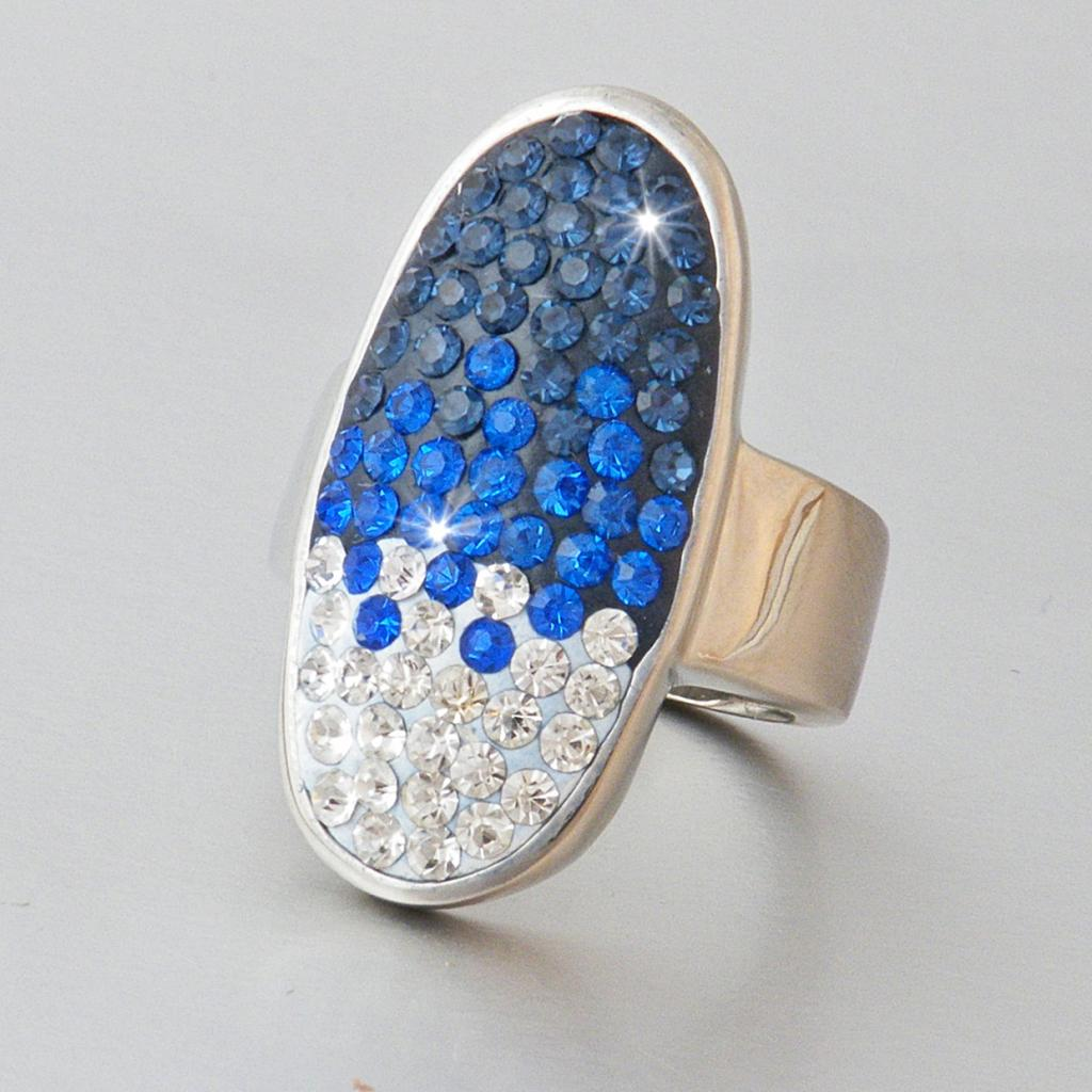 Stainless Steel Blue Swarovski Crystal Ring