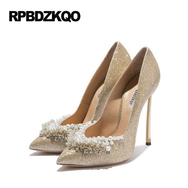 Ladies Super Metal Gold High Heels Pointed Toe 12cm 5 Inch 11 43