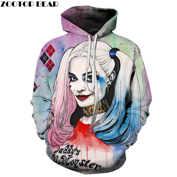 Harlley Quinn Hoodies 3D Hoodies Men Sweatshirts