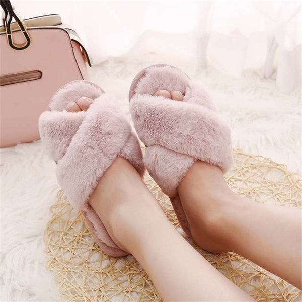 COOTELILI Winter Women Home Slippers with Faux Fur Fashion