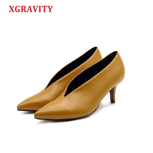 XGRAVITY Pop Star Pointed Toe Girl Thin Heel Woman