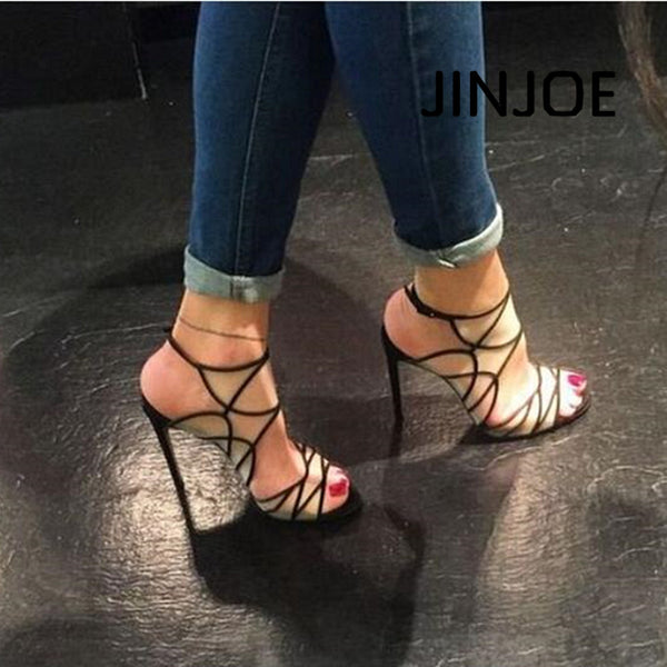JINJOE Woman shoes Black Sexy hollowed out fashion high