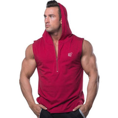 Men Cotton Hooded Tank Top Gyms Fitness Bodybuilding
