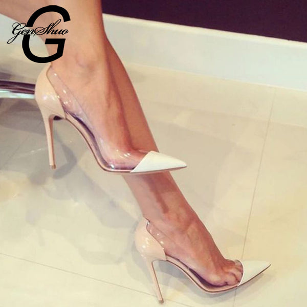 GENSHUO Women Pumps 2018 Transparent 11cm High Heels