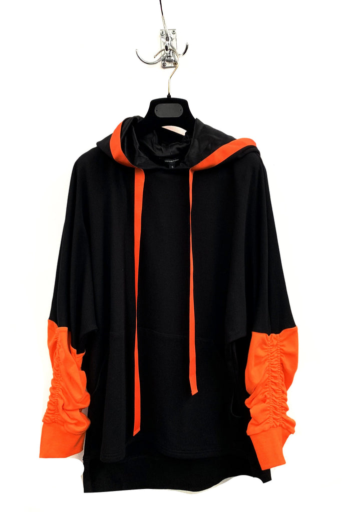 UNCONDITIONAL AW18 Black and Orange ruched sleeve tail hoodie