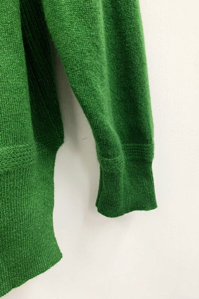 UNCONDITIONAL SS19 ALGAE GREEN CASHMERE OVERSIZED CREW NECK SWEATER