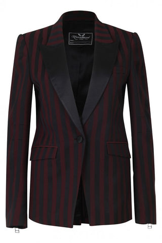 UNCONDITIONAL AW19 Black and Black|White Chinioserie striped jacket