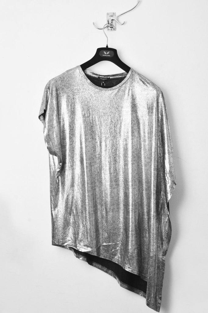 UNCONDITIONAL SS19 SILVER foiled crew neck fin t-shirt.