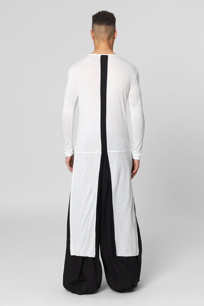 UNCONDITIONAL AW18 White full length metallic panel front L/S tail T