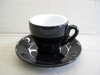 Nuova Point - Milano Espresso Cups and Saucers, Black, Set of 6