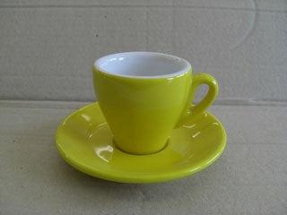 Nuova Point - Milano Espresso Cups and Saucers, Yellow, Set of 6