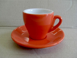 Nuova Point - Milano Espresso Cups and Saucers, Orange, Set of 6