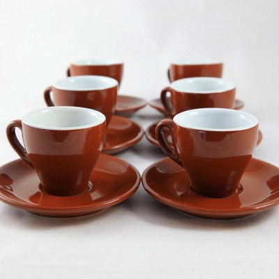 Nuova Point Milano Cappuccino Cups and Saucers, Brown, set of 6