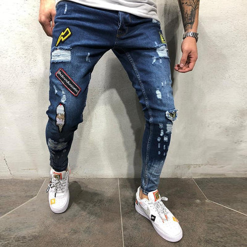 Men's hip hop high-end tight-fitting hole pants