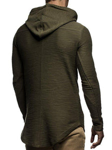 Casual Plain Or Printed Slim Hoodie With Hat