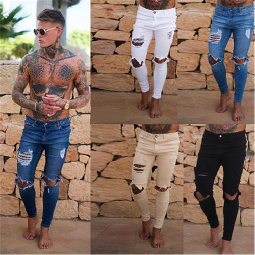 2019 Spring Fashion Street Style Stitch Hole Design Jeans