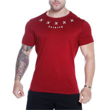 Load image into Gallery viewer, Casual Round Collar Letter Printed Slim Training T-Shirt