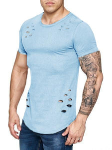 Men's Summer Hole Solid Color T-Shirt