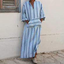 Load image into Gallery viewer, Muslim Men's Striped Long Sleeve V-Neck Robe