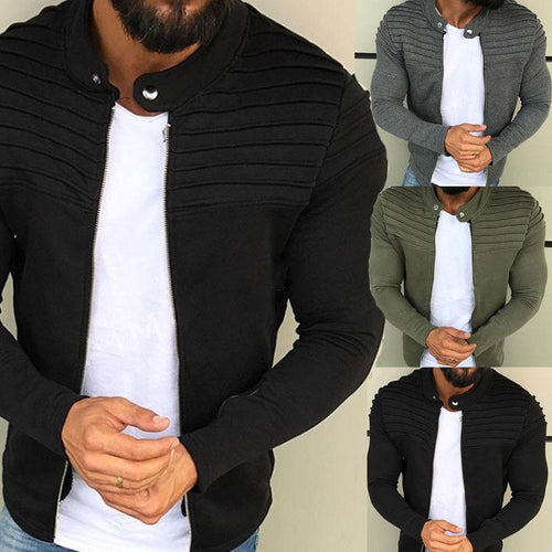 Men's Solid Color Striped Pleated Paneled Cardigan Sweater Jacket