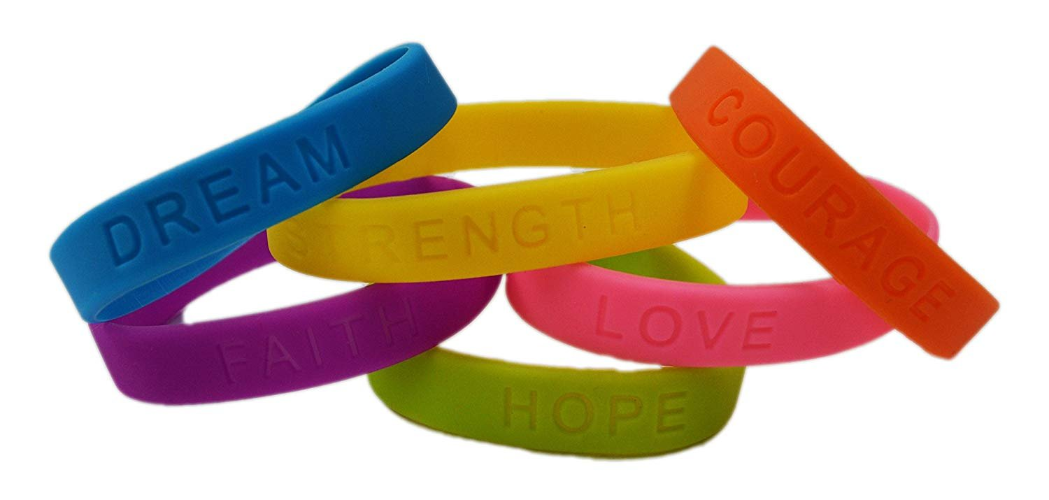 dazzling toys Rubber Bracelets Assorted Colors Inspirational Sayings Bracelets 4 Dozen | Bracelets Have Messages Dream, Hope, Love, Faith, Courage Strength.