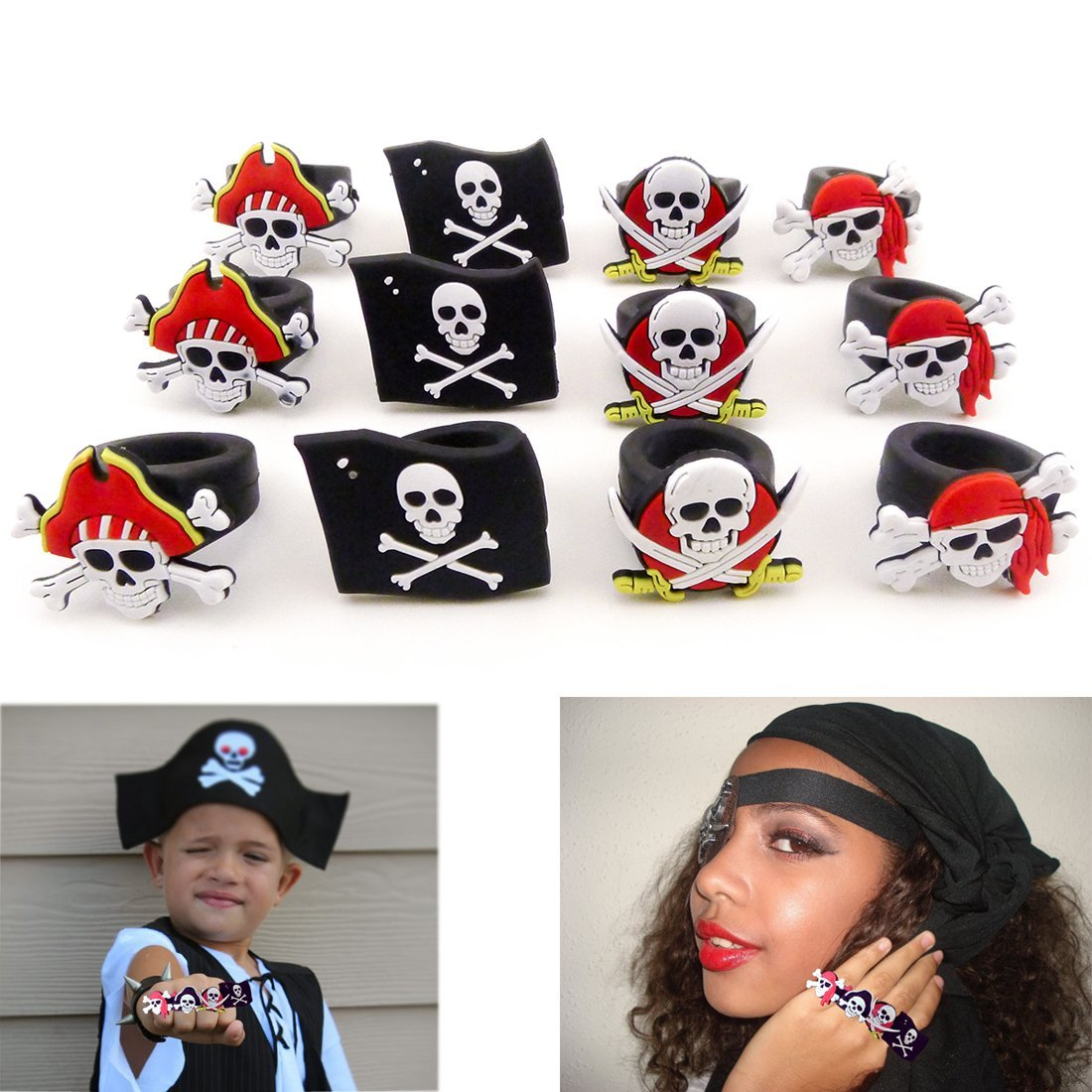 Rubber Pirate Rings - 2 Dozen Pirate Night on Cruise, Halloween, Costume Dress Up for Party, Easter Egg Fillers, and More, Dazzling Toys, Black