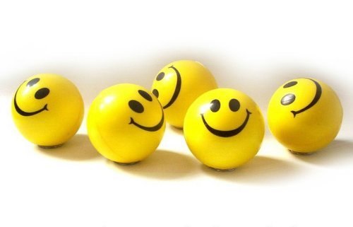 Smile Face Squeezable Stress Ball 24 Pack - Tension Relief Activity Balls Set of 24- Pressure Relieving Health Balls - Therapeutic Relaxing Smile Squeeze Ball Pack of 24 in Yellow Color