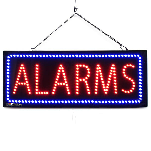 Alarms - Large LED Window Sign (#2568) - Led Open Signs