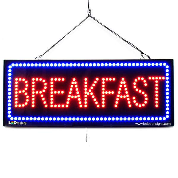 Breakfast- Large LED Window Sign (#2653) - Led Open Signs