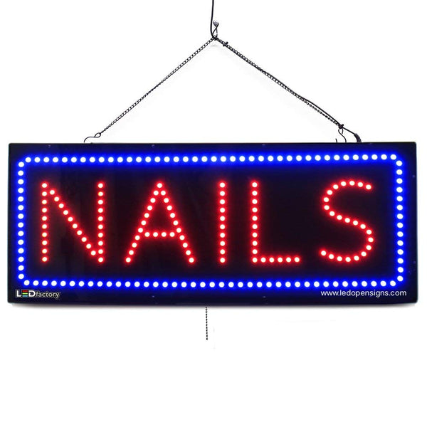 Nails - Large LED Window Sign (#2716) - Led Open Signs