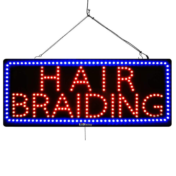 Hair Braiding - Large LED Window Sign (#2734) - Led Open Signs