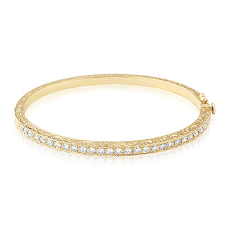 penny preville 18k yellow gold diamond bangle bracelet