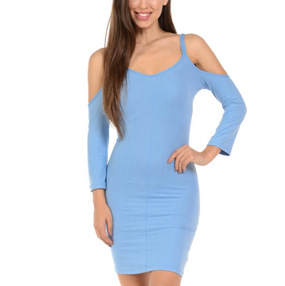 Women's Off The Shoulder Spaghetti Strap Long Sleeve Bodycon Dress Blue