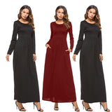 Women's O-Neck With Pockets Long Sleeve Maxi Dress Black Red