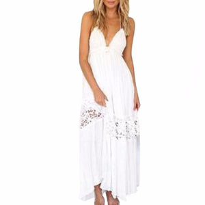 Women's Plunging V-Neck Backless Boho Lace Halter Top Lace Maxi Dress White