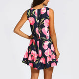 Women's Sleeveless Floral Print Loose Fitting Mid Thigh Ruffle Bottom Dress Pink