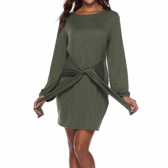 Women's O-Neck Long Sleeve Waist Tie Mid Thigh Dress Green
