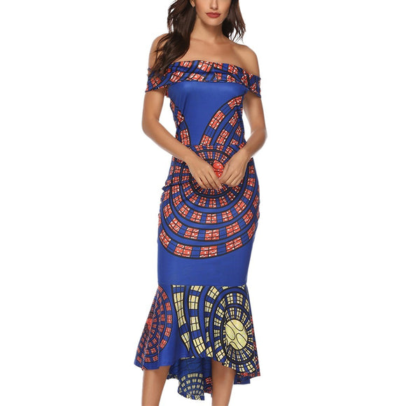 Women's Off The Shoulder Mermaid Sexy Ruffle Mid Calf Dress Blue Multicolor