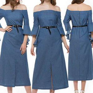 Women's Off The Shoulder Striped 3/4 Ruffle Sleeve Middle Slit Mid Calf Length Denim Dress Blue