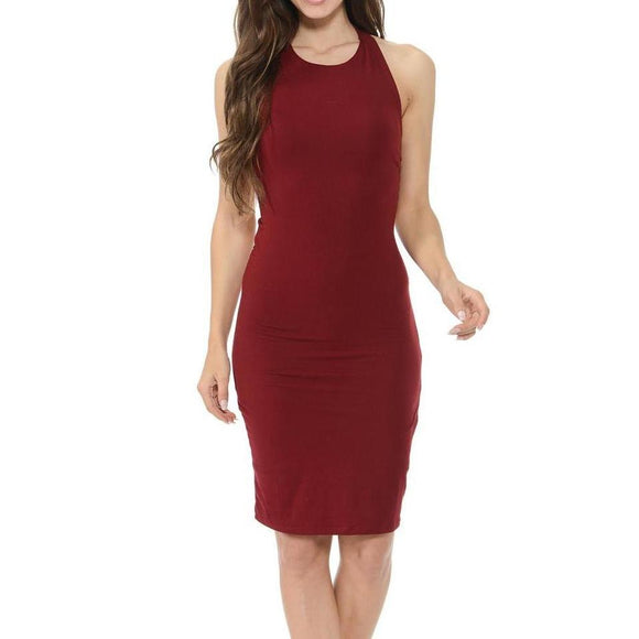 Women's Sleeveless Backless Star Tie Mid Thigh Length Dress Red