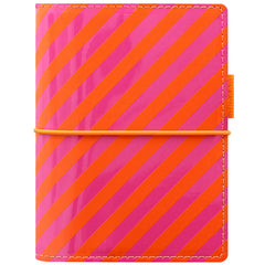 Filofax Domino Patent Orange/Pink Stripes Pocket Organizer-Pen Boutique Ltd