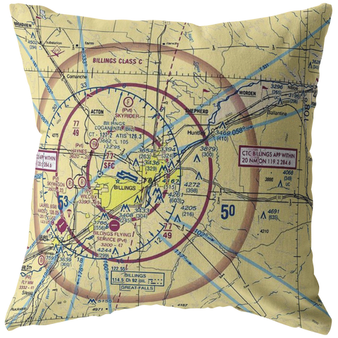 Image of Throw Pillow |  Billings, Montana VFR Sectional
