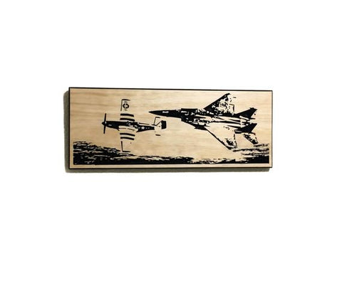 Image of Wall Art | Wood - Heritage Flight | P-51 and F-15 Carved Wood Art