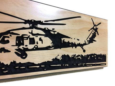 Image of Wall Art | Wood - MH-60S Helicopter Carved Wood Art