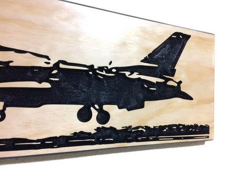 Image of Wall Art | Wood - F-16 Carved Wood Art