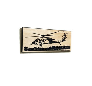 Wall Art | Wood - MH-60S Helicopter Carved Wood Art