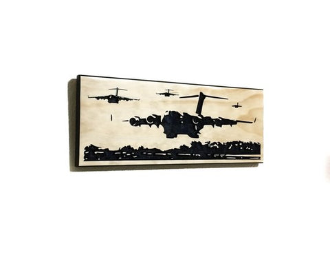 Image of Wall Art | Wood - C-17 Formation Carved Wood Art