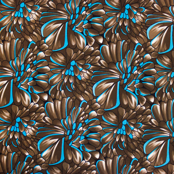 Blue and Brown Petals Printed Spandex