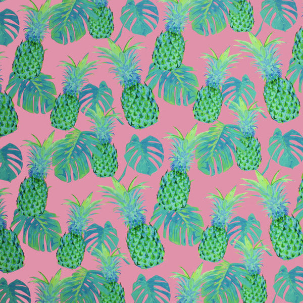Pink Green Pineapple Printed Spandex